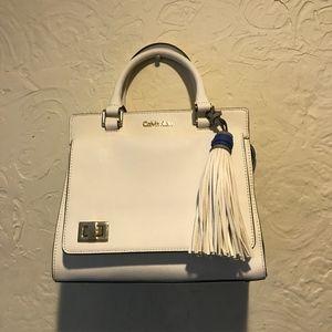 Calvin Klein White Saffiano Turnlock Satchel